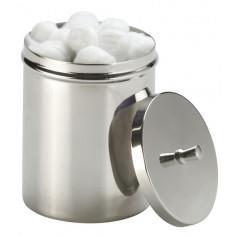 Boîte à coton en inox avec couvercle à pommeau