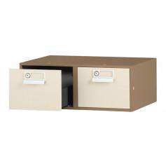 Fichier de classement à tiroir double et serrures café / crème
