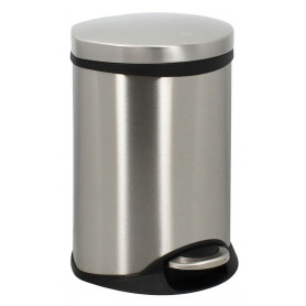 Poubelle en inox brossé semi-cylindrique - 6 L