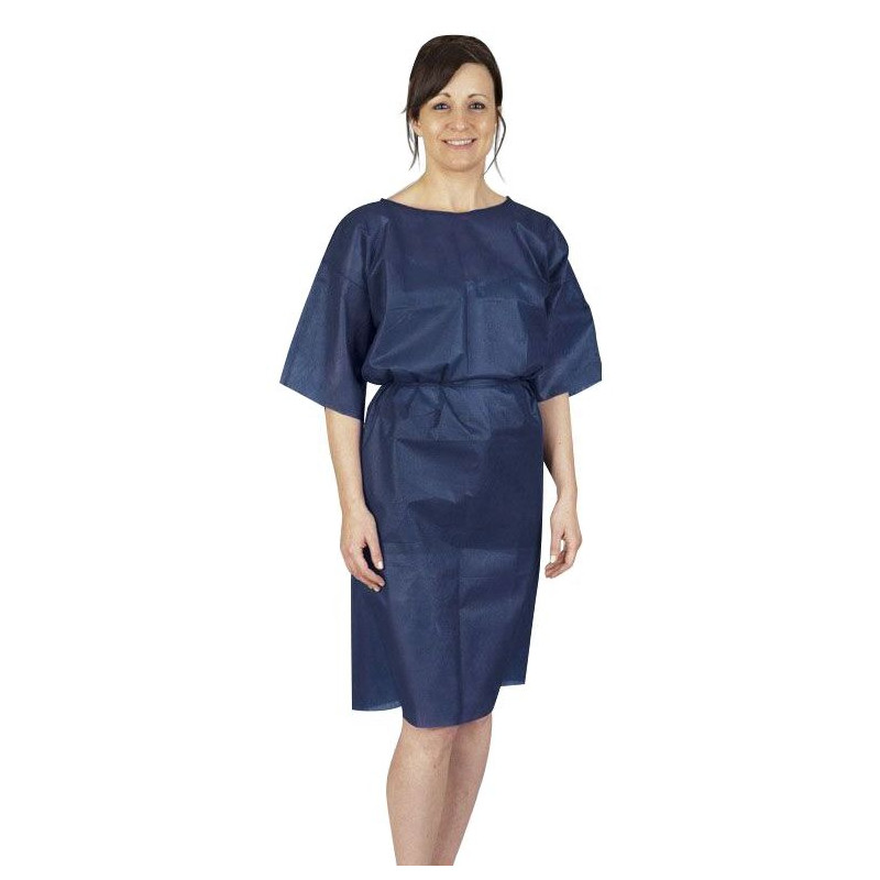 Chemise patient bleue pour bloc opératoire - Paquet de 10