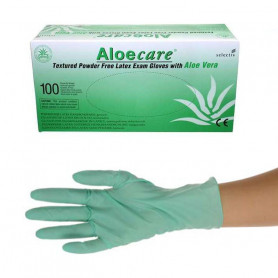 Boîte de 100 gants d'examen latex avec aloe vera sans poudre