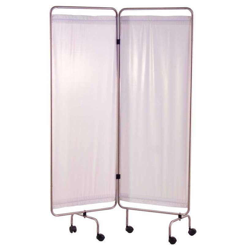 Paravent inox avec rideaux tendus blancs Holtex