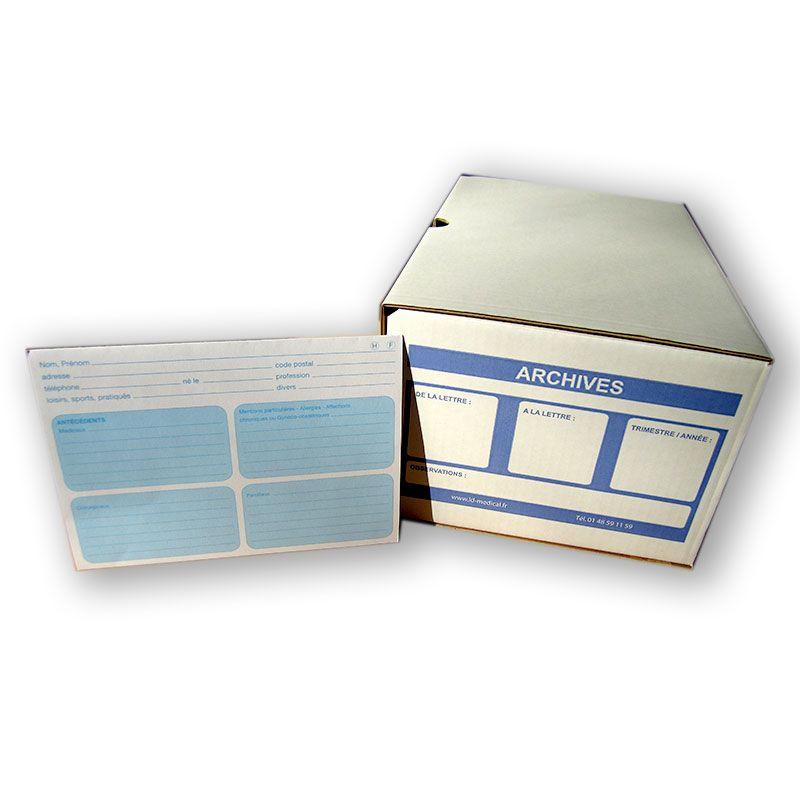 Boîte à archives pour fiches patients.