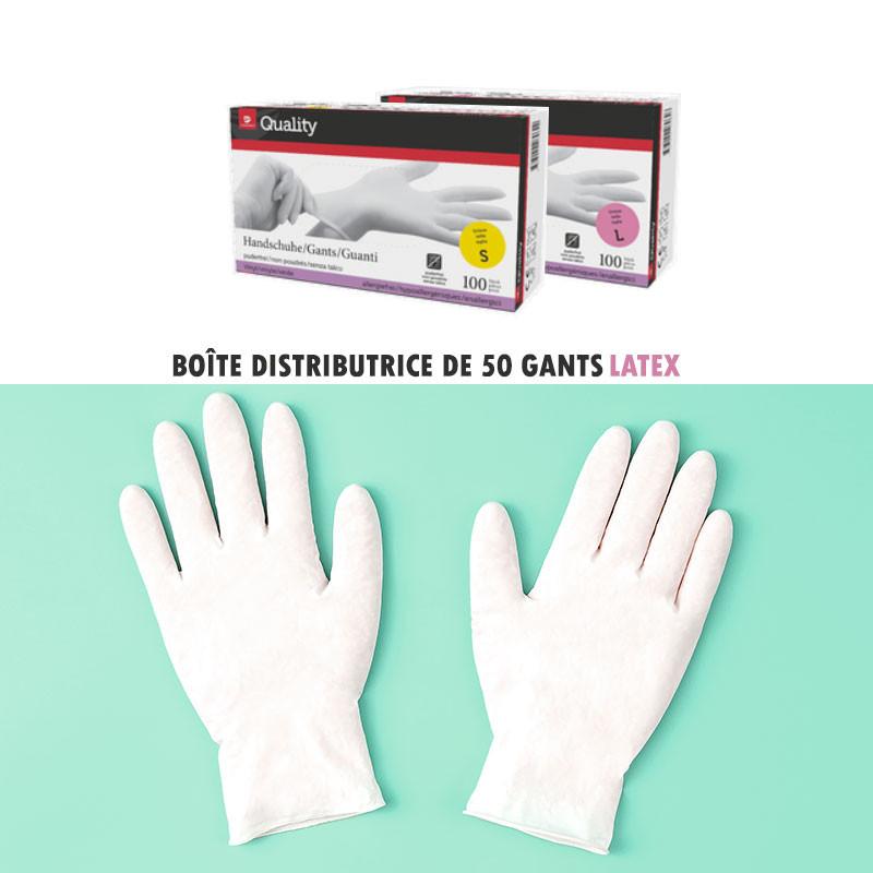 gants d'examen en latex poudré Boite de 100