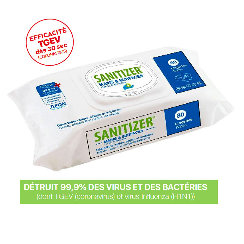 Lingettes désinfectantes Sanitizer mains et surfaces