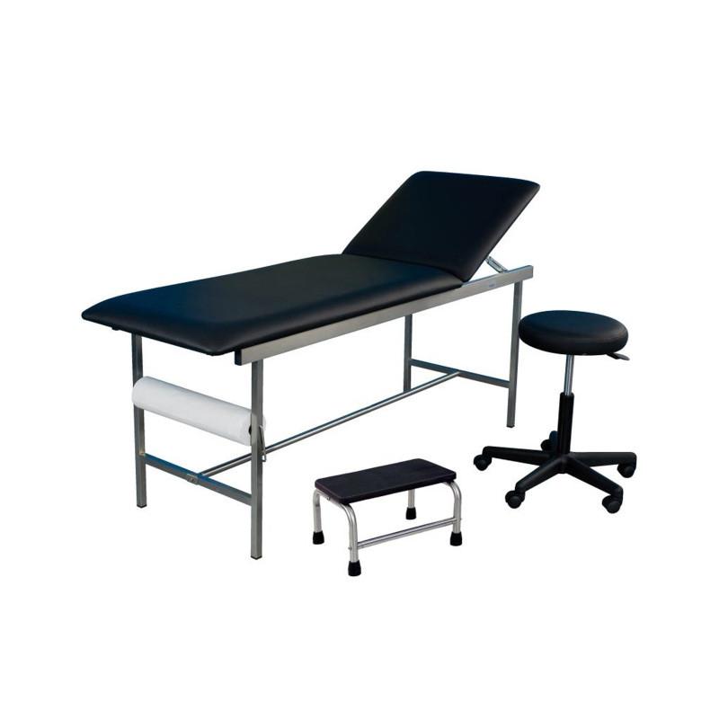 Cabinet médical complet inox - divan d'examen, tabouret et marchepied