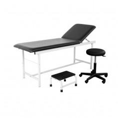 Cabinet médical complet EPOXY NOIR - divan d'examen, tabouret et marchepied