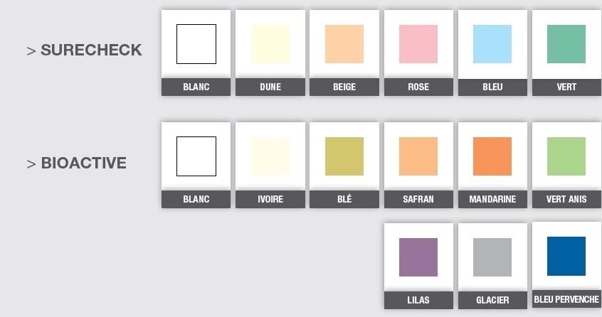 Liste des coloris disponibles pour les paravents médicaux