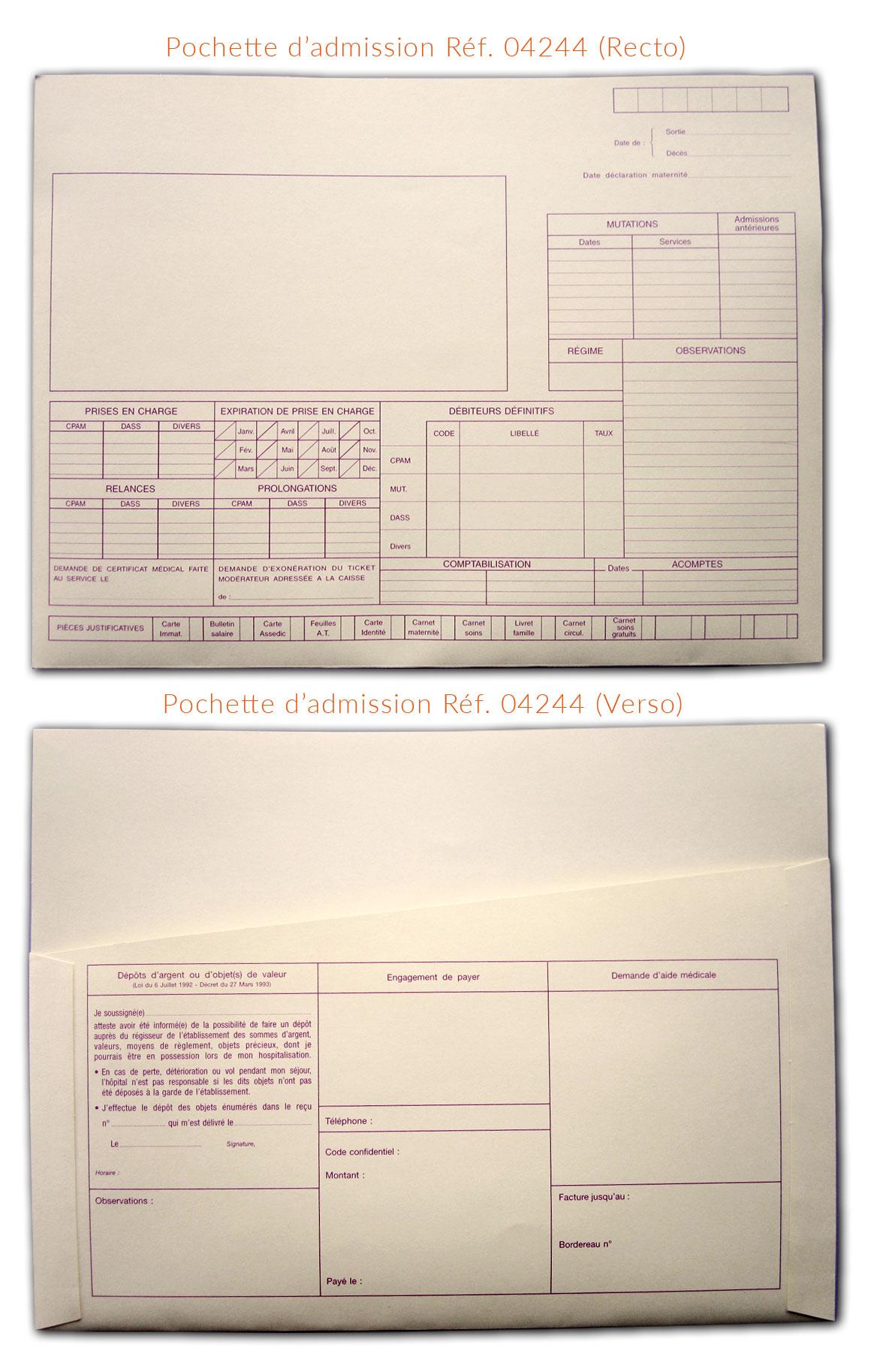 Image de la pochette d'admission pour les patients hospitalisés