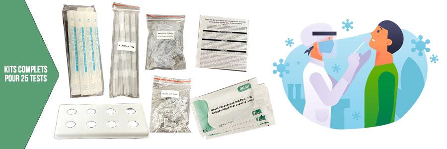 Photos kits des tests antigéniques covid-19