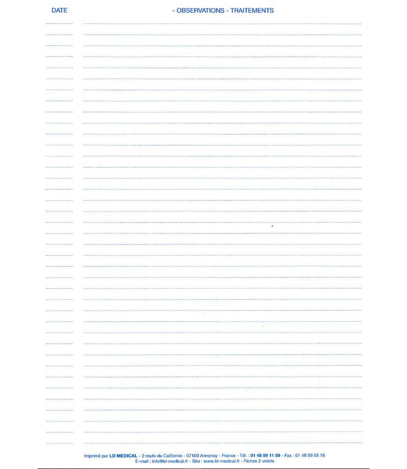 Fiche médicale patient Verso