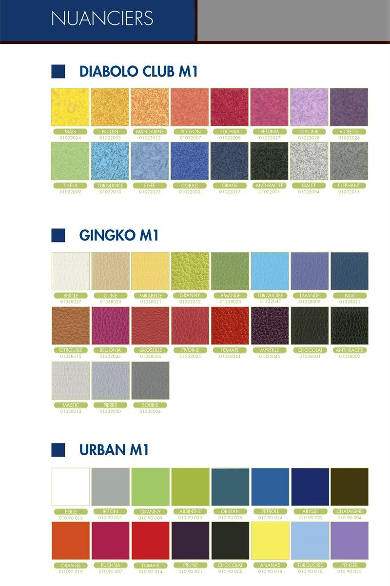 Nuancier pour les coloris des tables d'examens